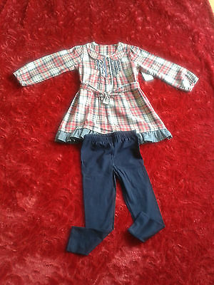 Girls checked long sleeve Red & blue set, Winter Clothes, 100%cotton 2-4 years