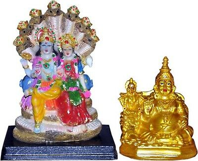 Diwali Decoration Vaah Laxmi Vishnu Murti and Laxmi Kuber Idol Statue 23.5 cm