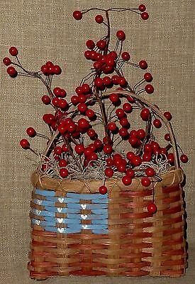 SIGNED~HAND PAINTED RED, WHITE & BLUE AMERICANA BASKET WALL POCKET w/RED BERRIES