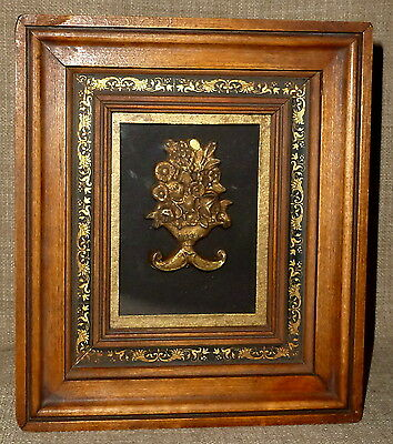 Beautifully FRAMED & MATTED ANTIQUED BRASS ARCHITECTURAL ORNAMENT~SHADOWBOX