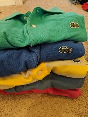 LACOSTE Lot of Five 5 Men's Short Sleeve Polo Shirts US XX Large / EUR 8 All EUC