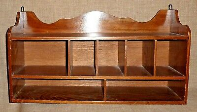 Stained ASH WOOD HANGING WALL SHELVES FOR DISPLAY~3 SHELVES & 7 COMPARTMENTS