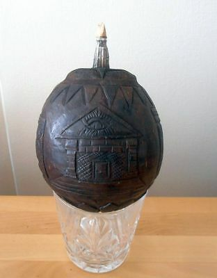 Rare Hand Carved French Masonic Powder Flask Coconut