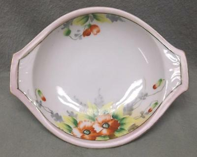 Vintage Meito China candy rice dish, hand-painted orange flowers, Japan (Nippon)
