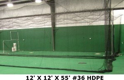 Batting Cage Net 12' x 12' x 55' #42 HDPE Heavy Duty Baseball Softball Netting