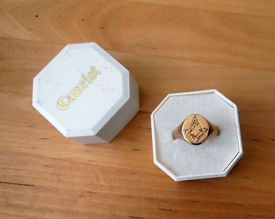 Pre-Owned Gents Boxed 9Ct Gold Masonic Ring