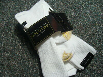 Goldtoe Men's Socks 3 Pair - 010 White- Heritage Collection - Cotton Fluffies