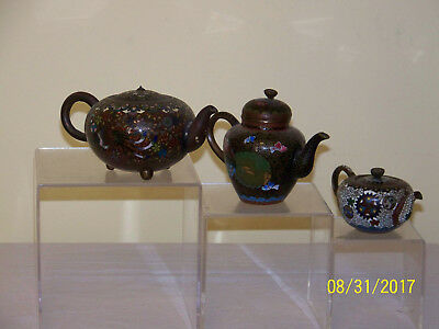 3- Chinese Qing Dy/Japanese Meiji Period Cloisonne TeaPots