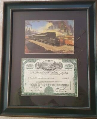 Pennsylvania Rail Road stock certificate issued to DuPont framed w/train print