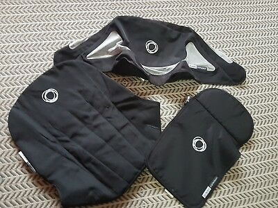 bugaboo cameleon 1 and 2 Black canvas breezy hood, apron and seat cover