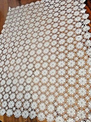 "Hand Crocheted Lace Vintage Tablecloth   White .76"" x 62""."