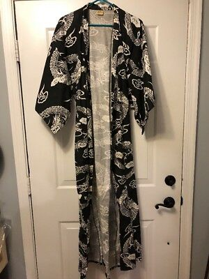 Vintage Black And White Dragon Asian All Cotton Robe