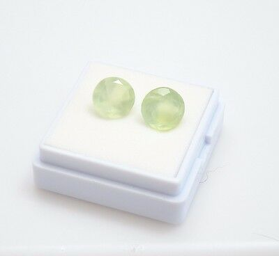 Pair of Prehnite Round 3.80TCW - 8mm - Loose Gemstones