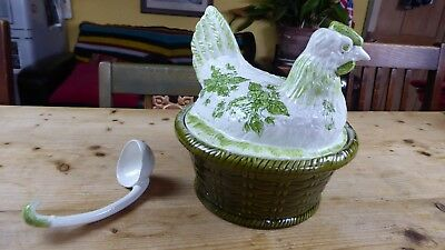 Vintage Secla Portugal Pottery Chicken and Basket Tureen with Ladle
