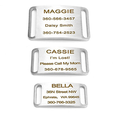 Dog ID Tag Personalized, Slide-On Dog Name Tag No Noise Pet Tag Stainless Steel