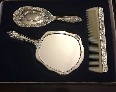 3 Piece Silver Plated Dresser Vanity Set Victorian Style Mirror Brush Comb Davco