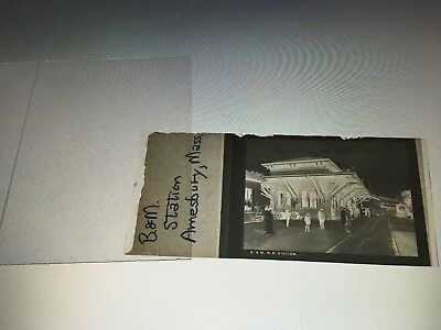 Vintage Film Negative Boston & Maine Railroad station Amesbury MA