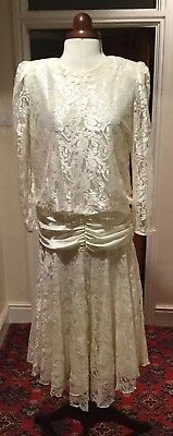 VINTAGE 1980's RETRO 1920's DARK IVORY LACE WEDDING/COCKTAIL DRESS BY BERKERTEX