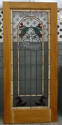 36 X 80 X 1.75 Mahogany beveled stained glass Christmas pantry door Retail $2000