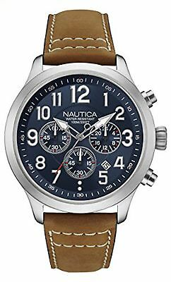 Nautica Men's 'NCC 01 CHRONO' Quartz Stainless Steel and Leather Casual Watch...