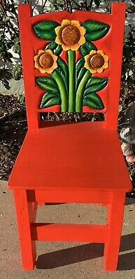 "Colorful Mexican wood chair hand carved sunflowers very heavy & 39"" tall  sturdy"