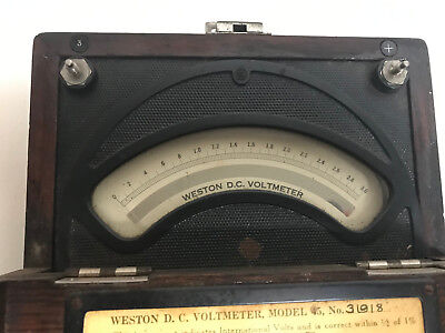 Weston Electrical Instrument Company Voltmeter, Model 45 in Wooden Case