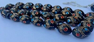 Islamic Prayer beads-Ysur- Rosary Misbaha Inlaid Turquoise/ Red Coral 52 GR