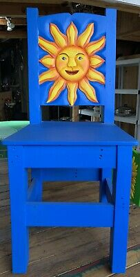 """Colorful Mexican wood chair hand carved sun Blue very heavy & 39"""" tall  sturdy"""