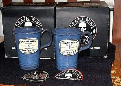 (2) NEW in Box Death Wish Coffee Co. Mugs with Patch and Sticker
