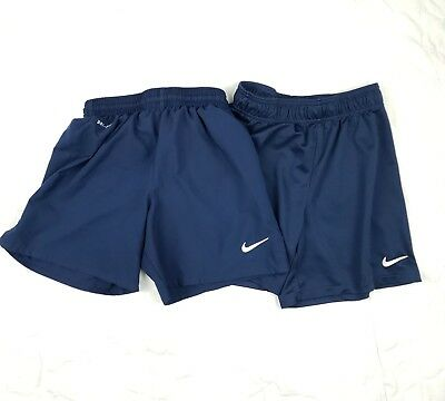Nike Youth Kids Childrens Athletic Soccer Shorts Small Medium Navy Dri-Fit d