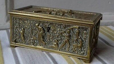 Antique Vtg French Bronze Casket box,jewellery agricultual,rural, garden,horses