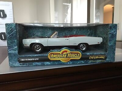 Ertl 1 18 1969 Plymouth Gtx Convertible Spinmaker White 7249 69 American Muscle
