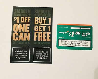 Lot of 3 Assorted Tobacco Coupons  -  Copenhagen & Newports