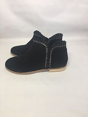 Zara Girls Black Suede Leather Ankle Slip On  Boots Size UK 6