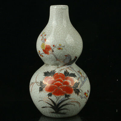 Chinese Porcelain Hand-painted Flowers & Birds Vase W Qianlong Mark bh808