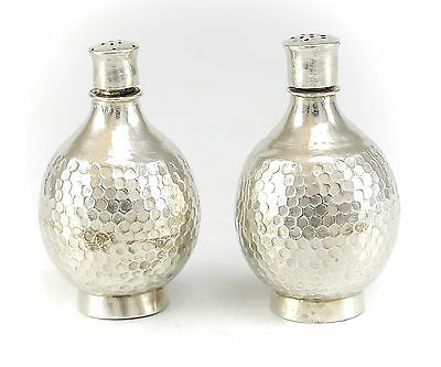 Pair of Chinese Sterling Silver Salt & Pepper Shakers, c.1900 Hand Chased