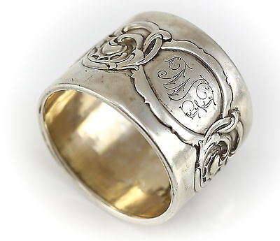 .830 Silver Norwegian Napkin Ring c1940 Hand Chased & Repousse Foliat Design 16g