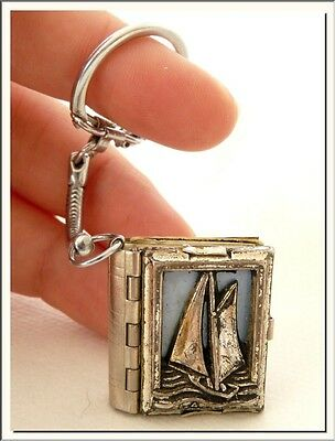 VINTAGE 1950's FRENCH BLUE COAST PHOTO ALBUM BOOK LOCKET KEY RING ! SEE MORE !