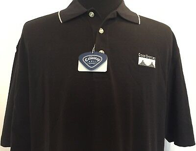 Cisco Polo Shirt Large L Mens Black Embroidered Logo New Callaway Golf Sport NWT