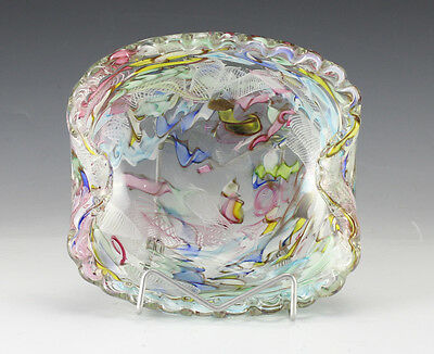 Italian Art Glass Murano Dish Ashtray multicolored swirls of color encased