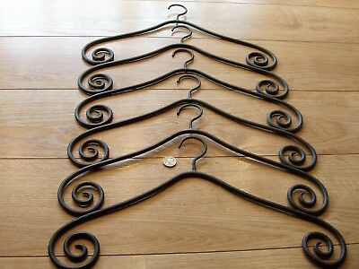 6 Iron Metal Heavy Vintage Coat Hangers Heavy Old Ornate Swirl Display