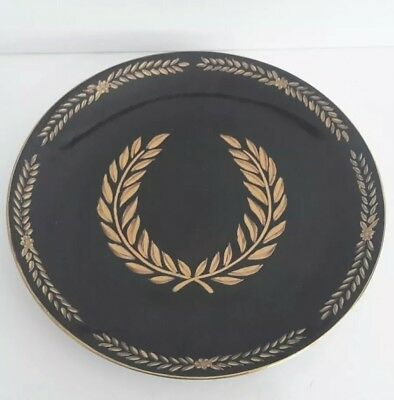 """Vintage Asian Hand Painted Black And Gold Plate 10"""""""