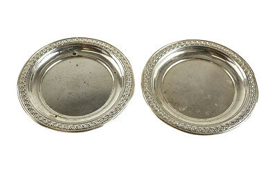 Pair of Rogers Sterling Silver Butter Pats #4001. Hand Chased Floral Rim
