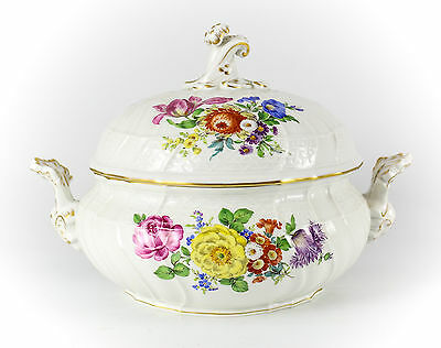 Meissen Porcelain Round Tureen w/ Foliate scroll Finial Hand painted florals