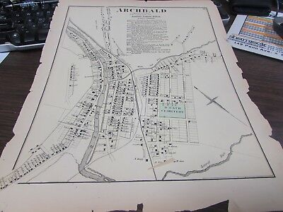 Antique - Spring Brook Township Pa - 1873 Map - Plus Business Notices Vg