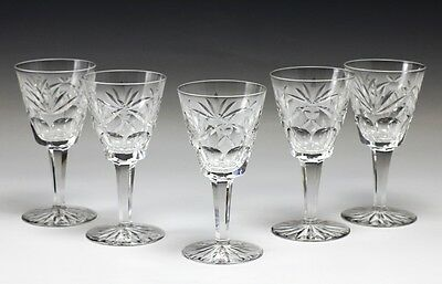 5pc Waterford Cut Crystal Claret Glasses Goblets Stemware in Ashling Pattern