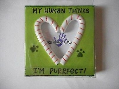 My Human Thinks I'm Purrfect Cat Ceramic Picture Frame Ornament New