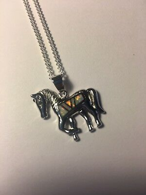 Lovely HORSE White Fire Opal  Silver Women Jewelry Precious NECKLACE-N50010