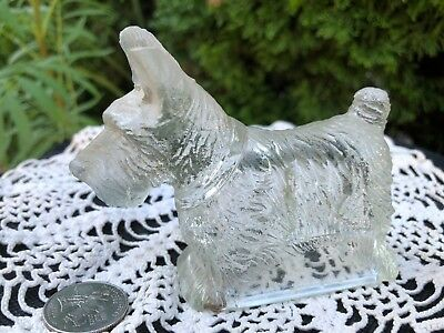 VINTAGE DOG GLASS CANDY CONTAINER Scotty West Highland Cairn TERRIER