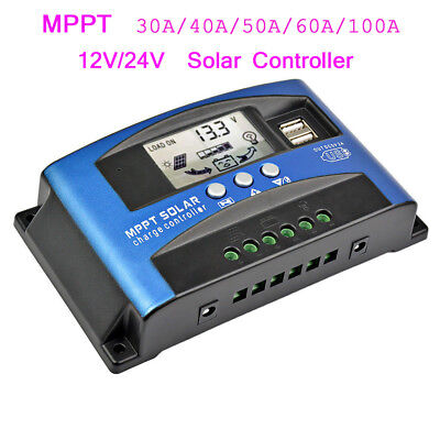 30-100A MPPT Solar Panel Regulator Battery Charger Controller 12/24V W/ LCD USB